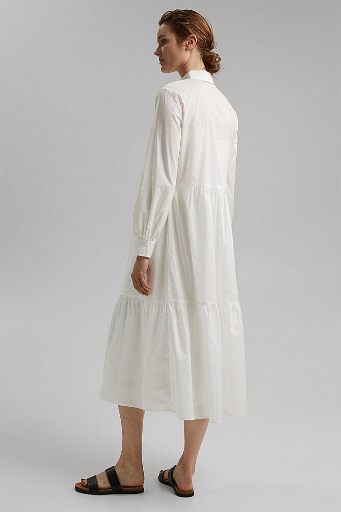 Robe longueur midi à volants en coton, WHITE, detail image number 2