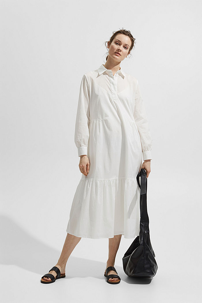 Midi dress with flounces made of cotton