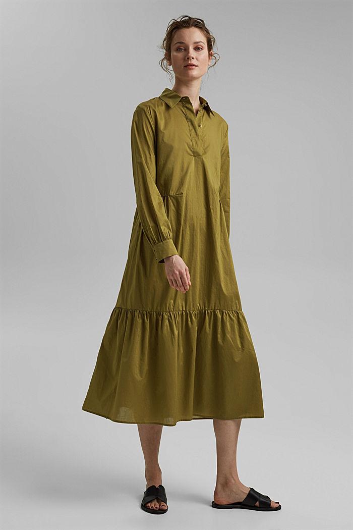 Vestido midi de algodón con volantes