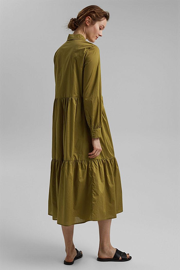 Vestido midi de algodón con volantes, OLIVE, detail image number 2