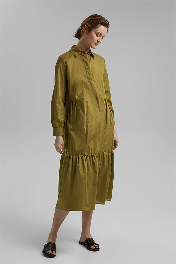 Vestido midi de algodón con volantes, OLIVE, detail image number 1