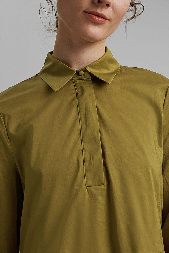 Vestido midi de algodón con volantes, OLIVE, detail image number 3