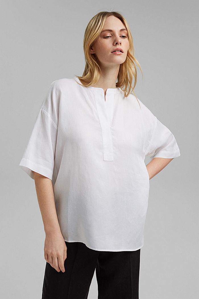 Blusa oversize en mezcla de lyocell y lino, WHITE, detail image number 0
