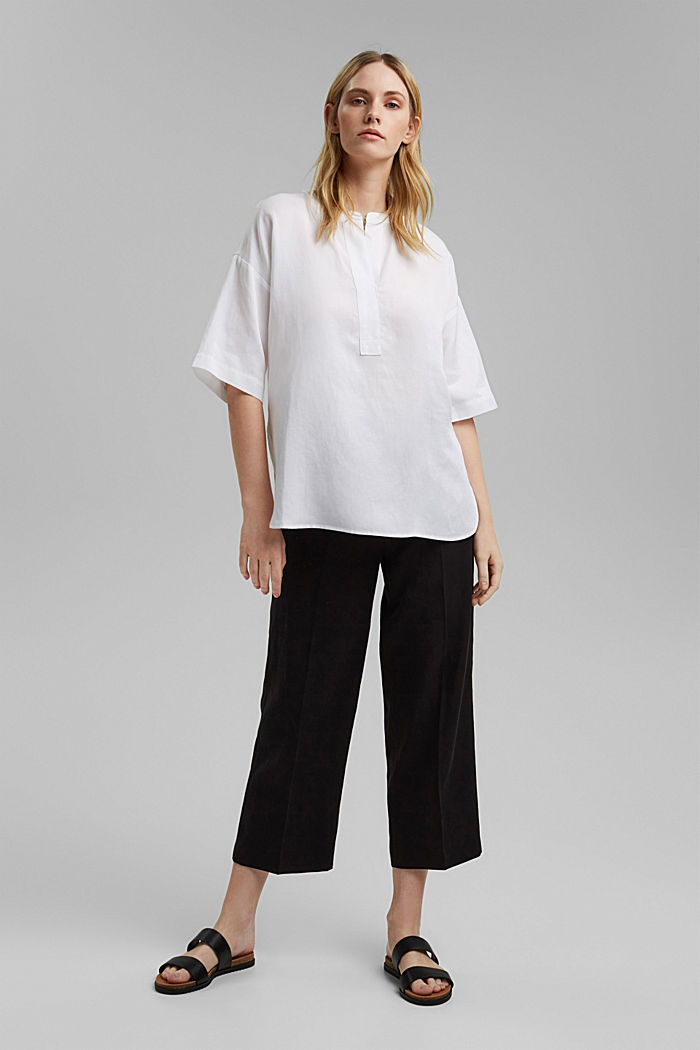 Blusa oversize en mezcla de lyocell y lino, WHITE, detail image number 1