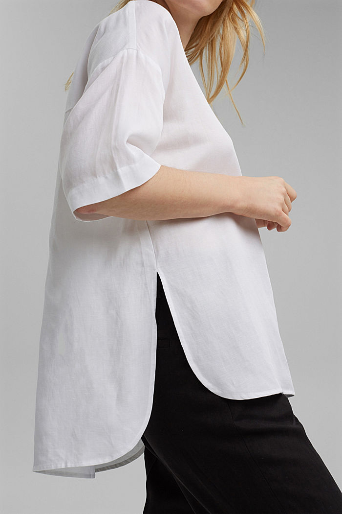 Blusa oversize en mezcla de lyocell y lino, WHITE, detail image number 2