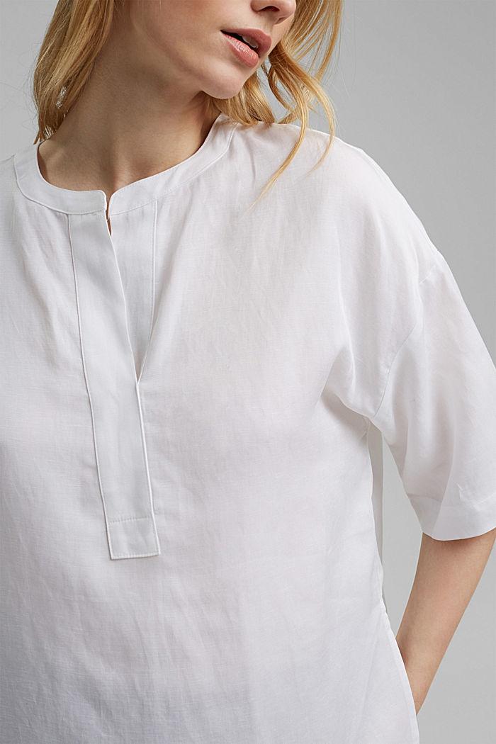 Blusa oversize en mezcla de lyocell y lino, WHITE, detail image number 5