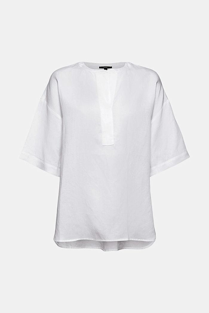 Oversized blouse van een mix van lyocell en linnen