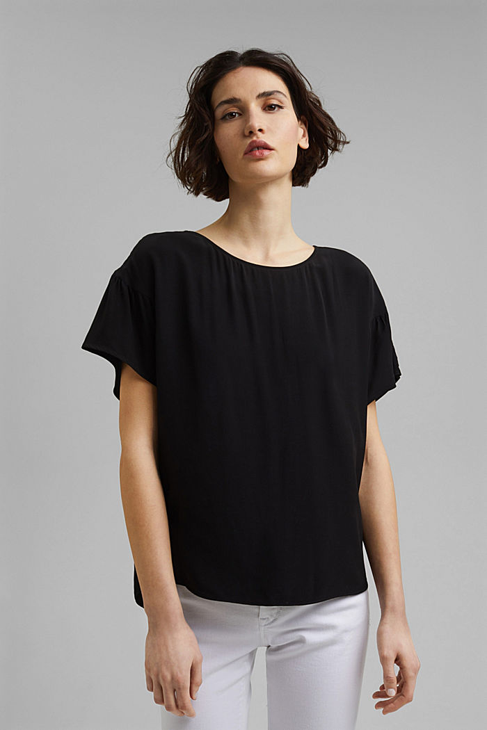 Kurzarm-Bluse mit LENZING™ ECOVERO™, BLACK, detail image number 0