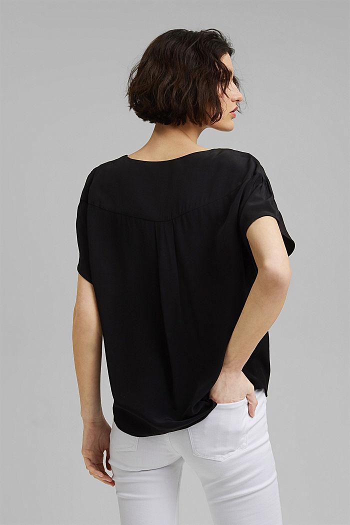 Kurzarm-Bluse mit LENZING™ ECOVERO™, BLACK, detail image number 3