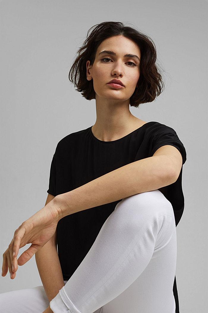 Kurzarm-Bluse mit LENZING™ ECOVERO™, BLACK, detail image number 5