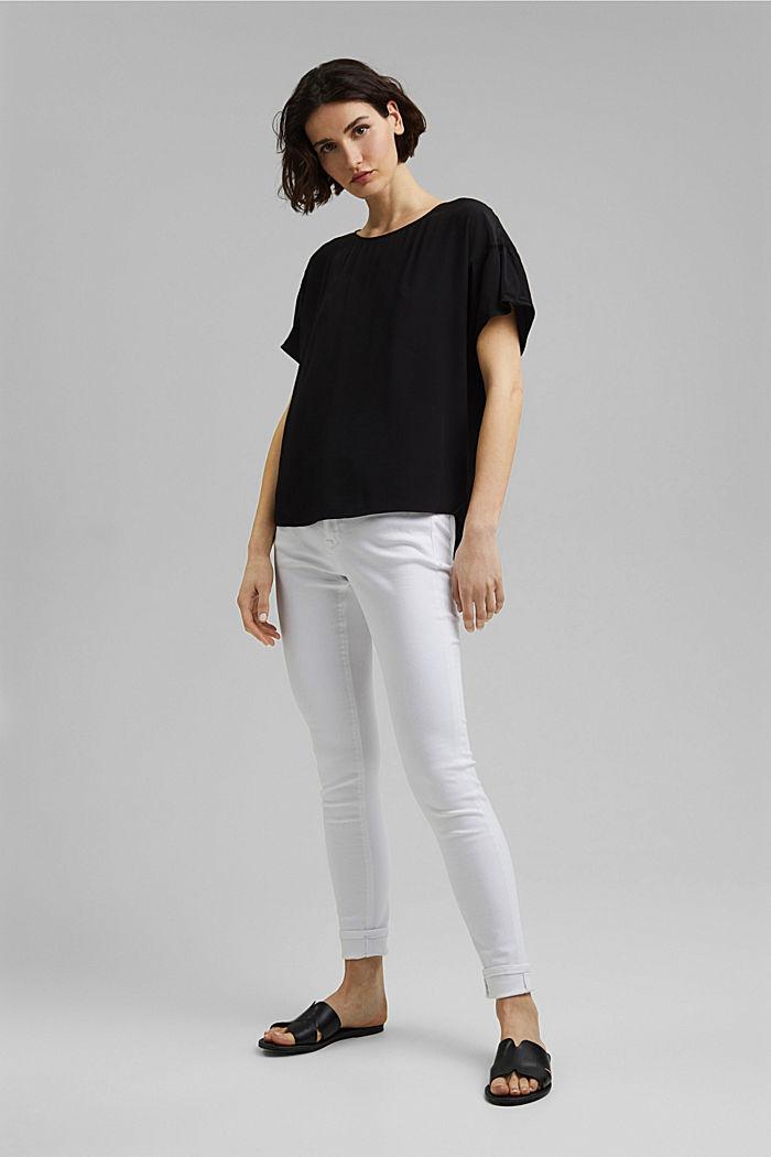Kurzarm-Bluse mit LENZING™ ECOVERO™, BLACK, detail image number 1