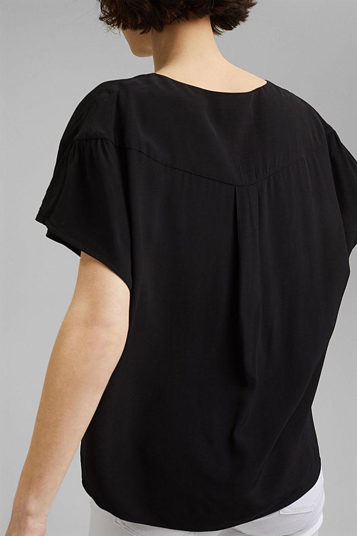 Kurzarm-Bluse mit LENZING™ ECOVERO™, BLACK, detail image number 2