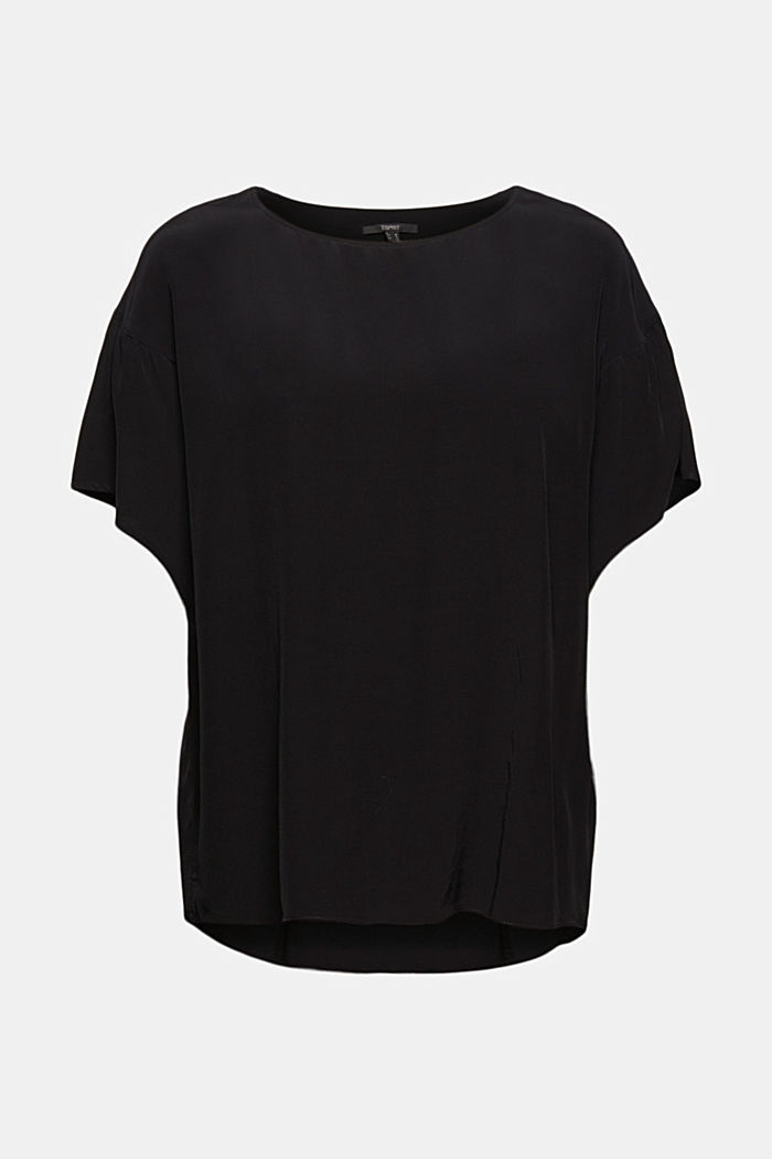 Kurzarm-Bluse mit LENZING™ ECOVERO™, BLACK, detail image number 6