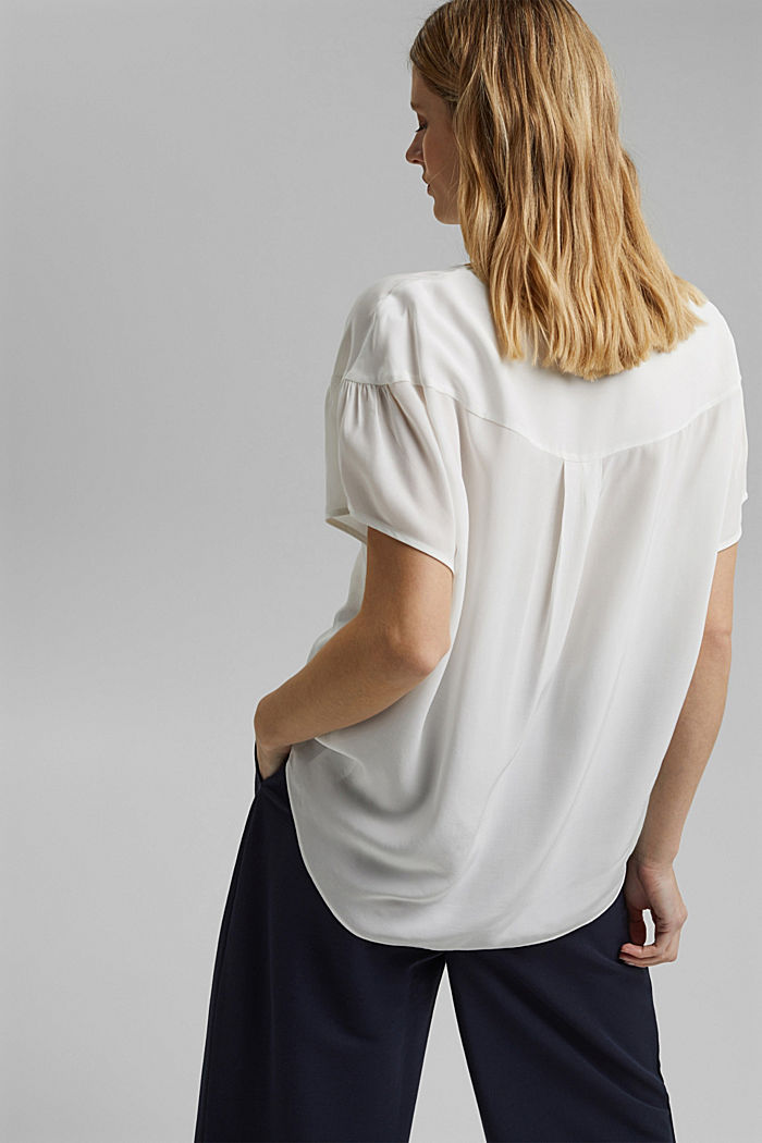 Short sleeve blouse with LENZING™ ECOVERO™, OFF WHITE, detail image number 3