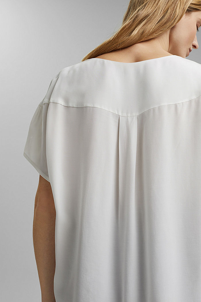 Short sleeve blouse with LENZING™ ECOVERO™, OFF WHITE, detail image number 5