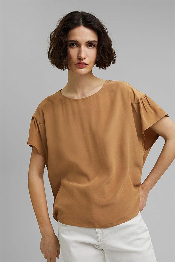 Short sleeve blouse with LENZING™ ECOVERO™, BARK, detail image number 0