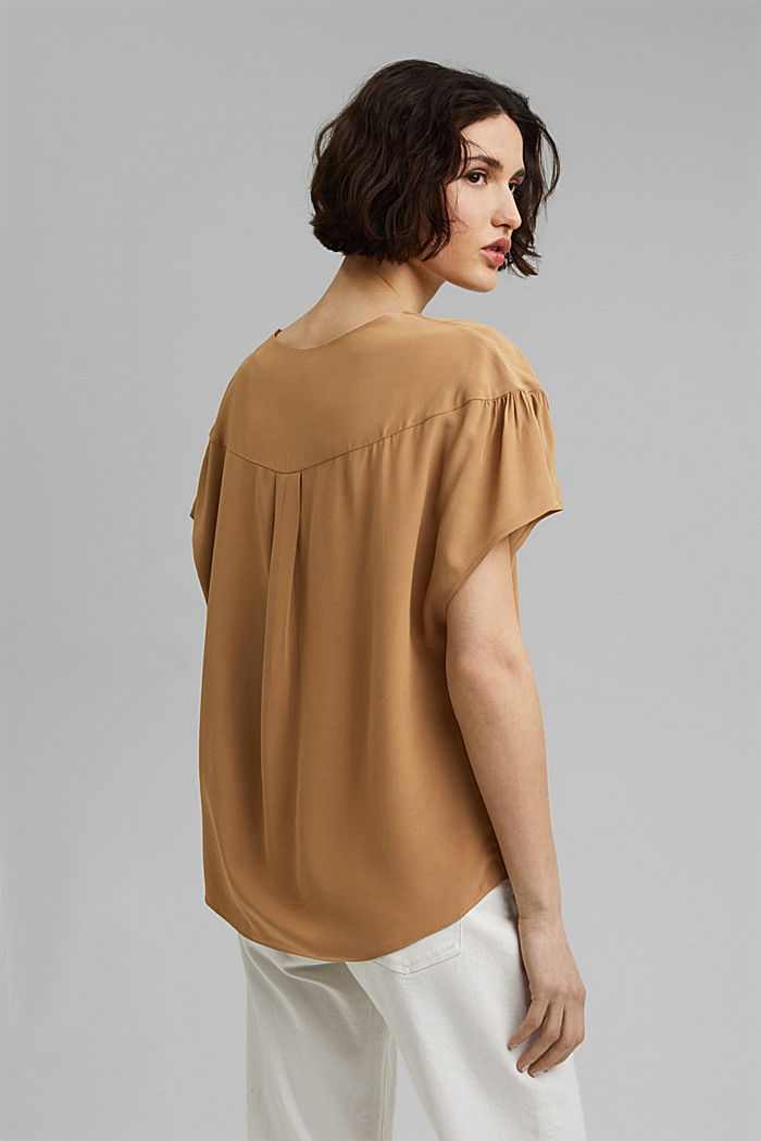Short sleeve blouse with LENZING™ ECOVERO™, BARK, detail image number 3