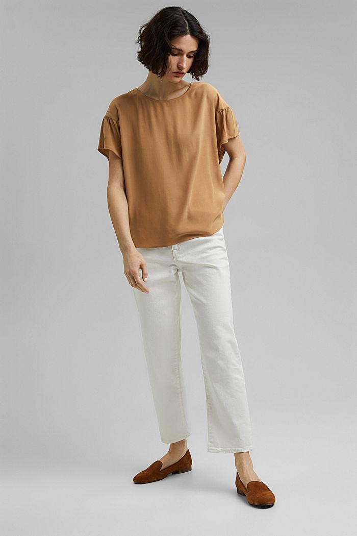 Short sleeve blouse with LENZING™ ECOVERO™, BARK, detail image number 1