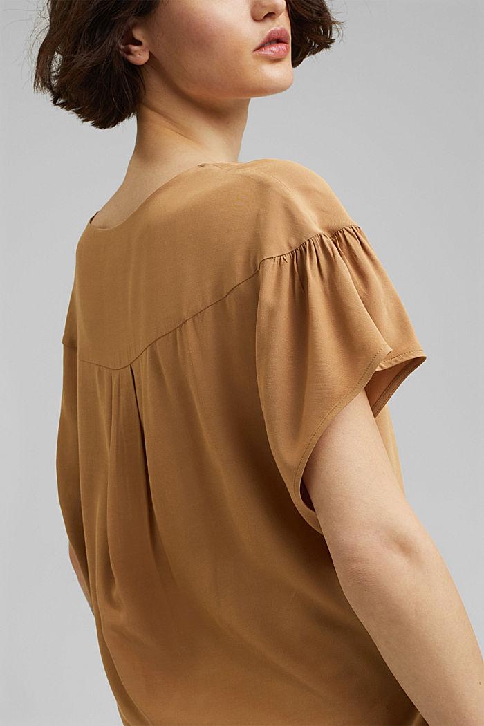 Short sleeve blouse with LENZING™ ECOVERO™, BARK, detail image number 2