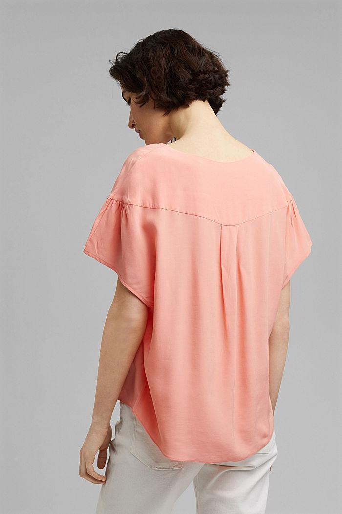 Kurzarm-Bluse mit LENZING™ ECOVERO™, SALMON, detail image number 3
