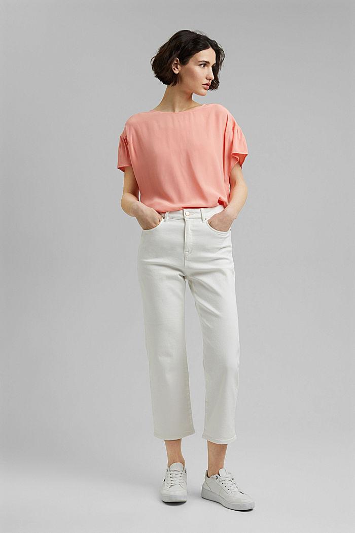 Kurzarm-Bluse mit LENZING™ ECOVERO™, SALMON, detail image number 1