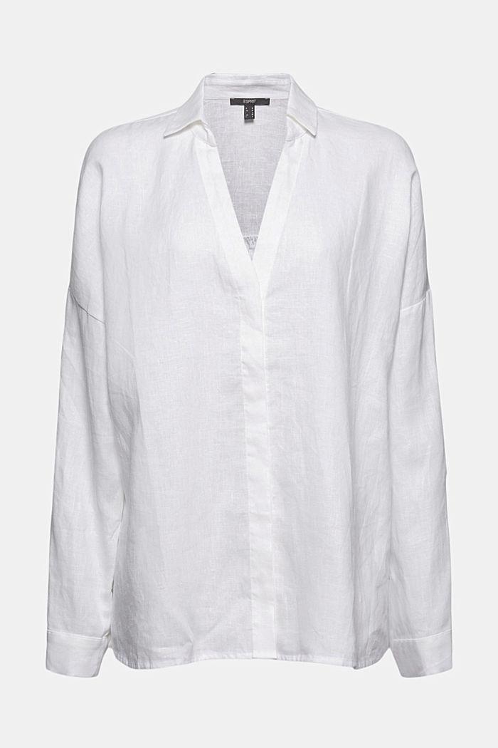 En lino: blusa camisera oversize