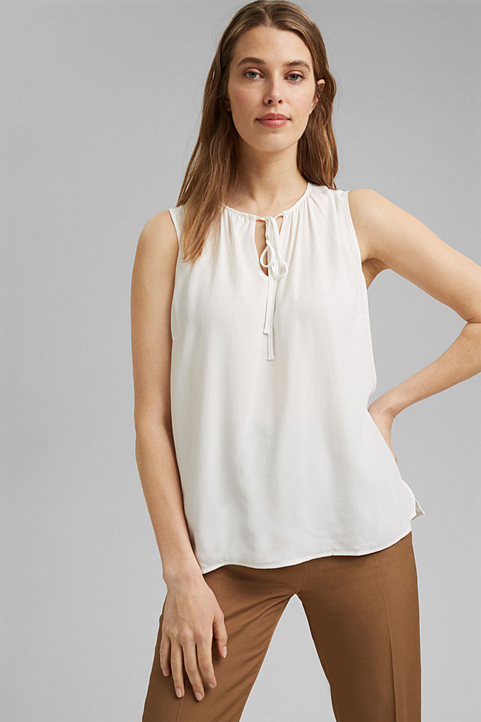 Blouse top with ties, OFF WHITE, detail image number 0