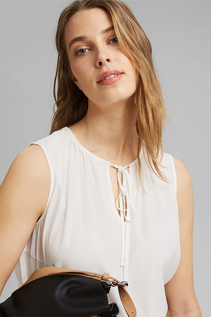 Blouse top with ties, OFF WHITE, detail image number 5