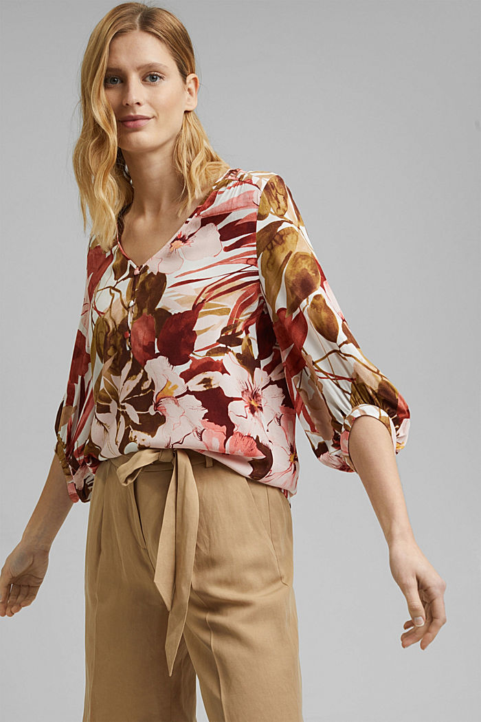 Printed blouse with 3/4-length sleeves, LIGHT PINK, detail image number 0