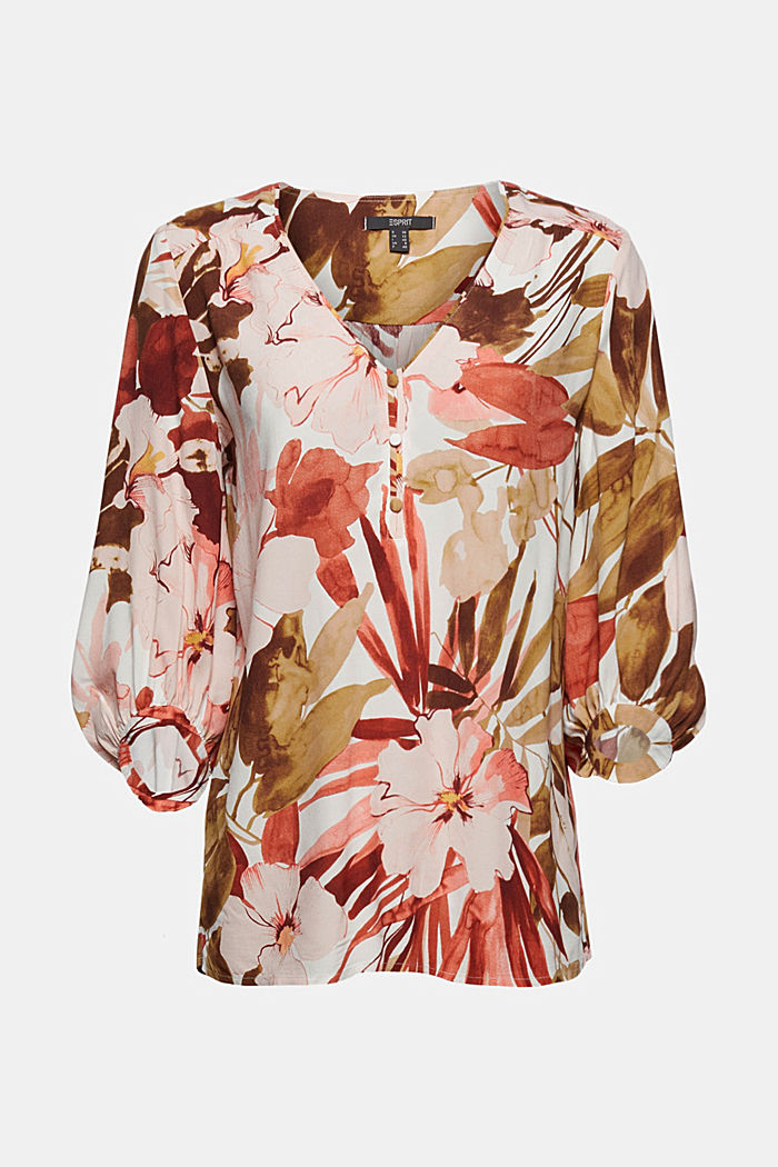 Printed blouse with 3/4-length sleeves