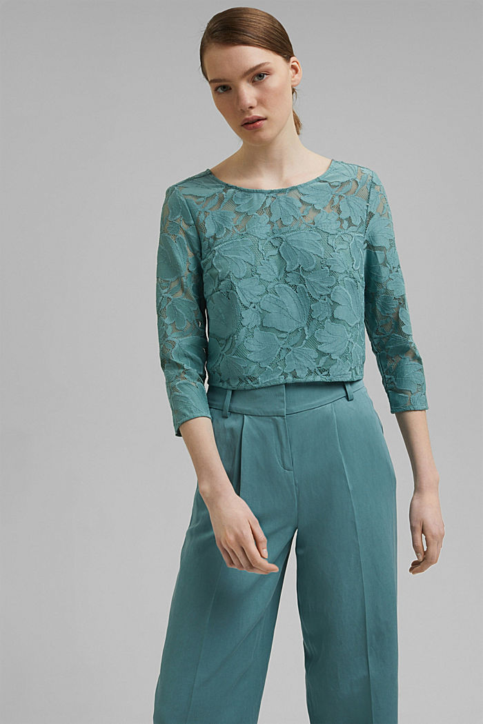 Cropped blouse made of floral lace, DARK TURQUOISE, detail image number 0