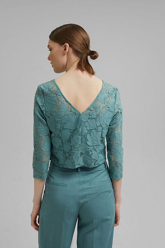 Cropped blouse made of floral lace, DARK TURQUOISE, detail image number 3