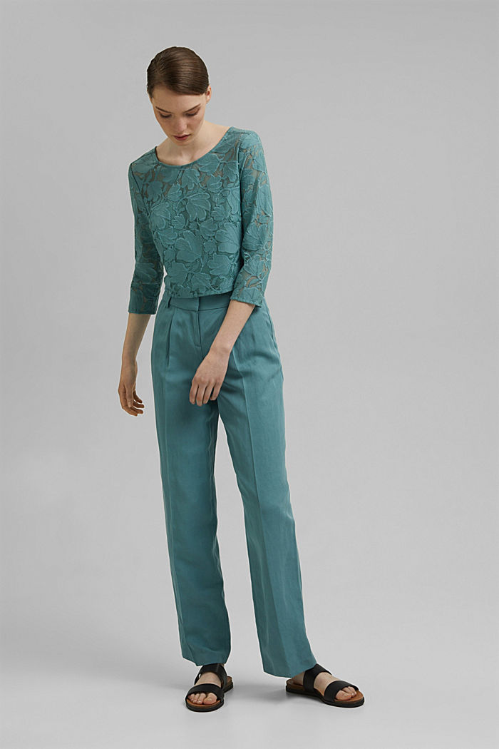 Cropped blouse made of floral lace, DARK TURQUOISE, detail image number 1