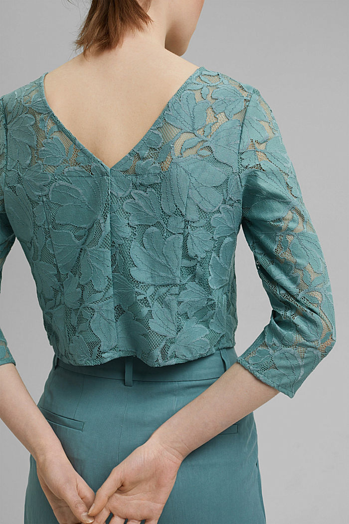 Cropped blouse made of floral lace, DARK TURQUOISE, detail image number 2