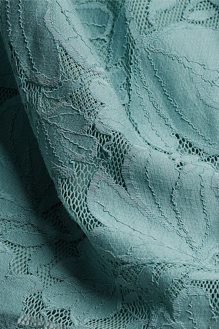 Cropped blouse made of floral lace, DARK TURQUOISE, detail image number 4