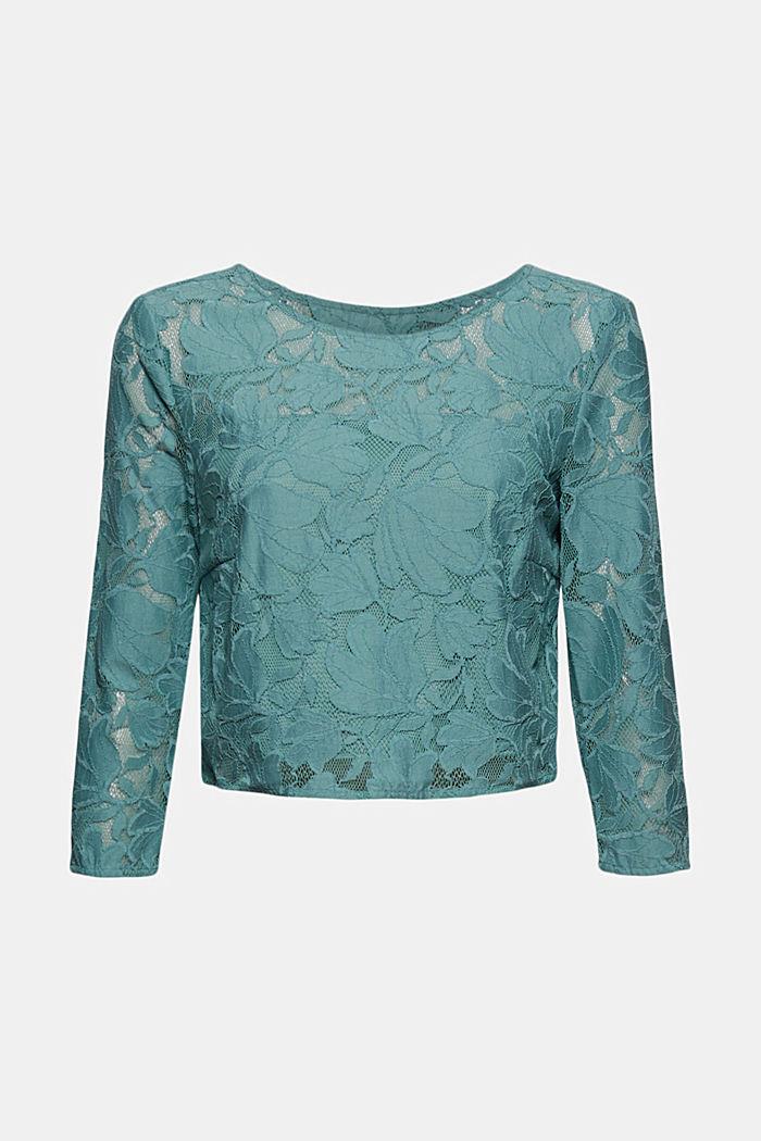 Skrócona bluzka z kwiatowej koronki
