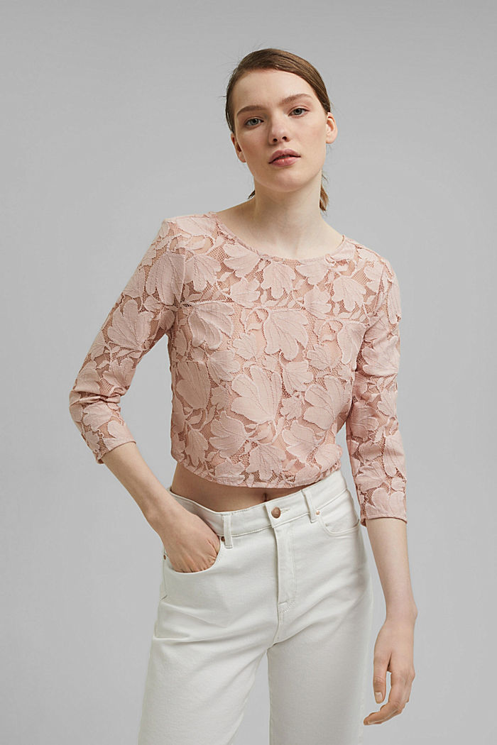Cropped blouse made of floral lace, NUDE, detail image number 0