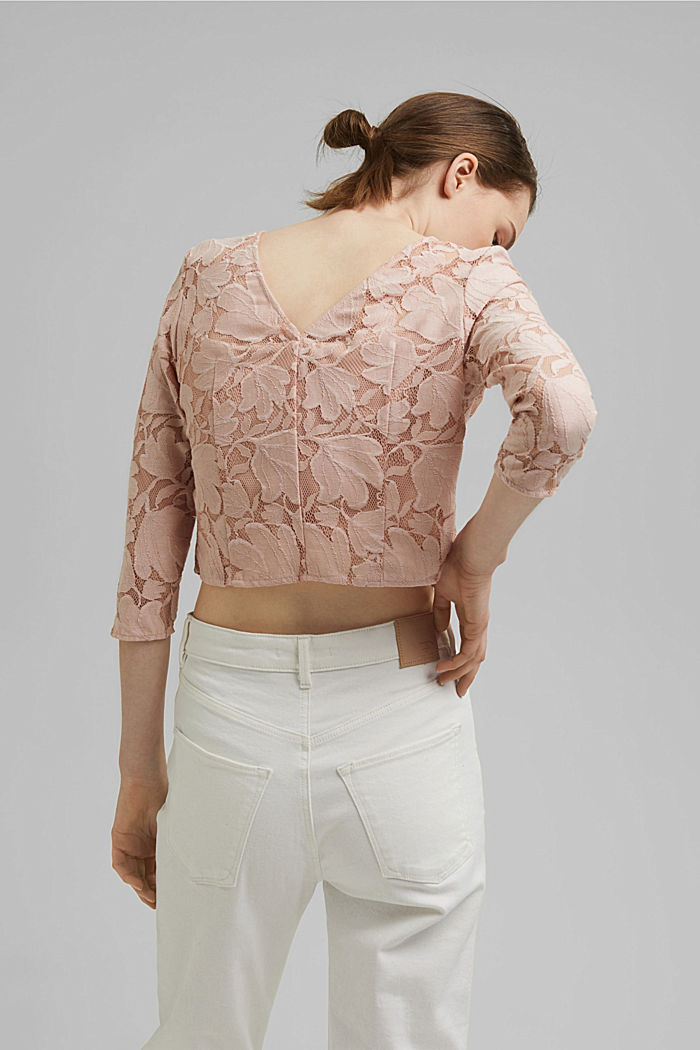 Cropped blouse made of floral lace, NUDE, detail image number 3