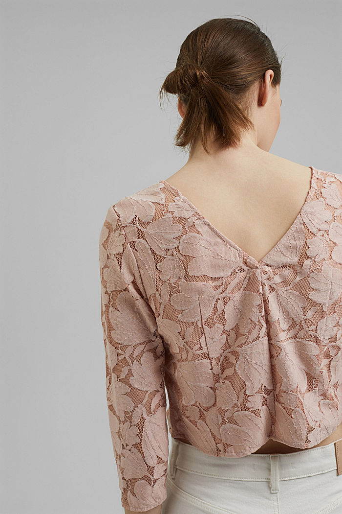 Cropped blouse made of floral lace, NUDE, detail image number 2