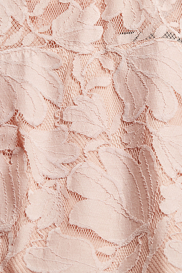 Cropped blouse made of floral lace, NUDE, detail image number 4