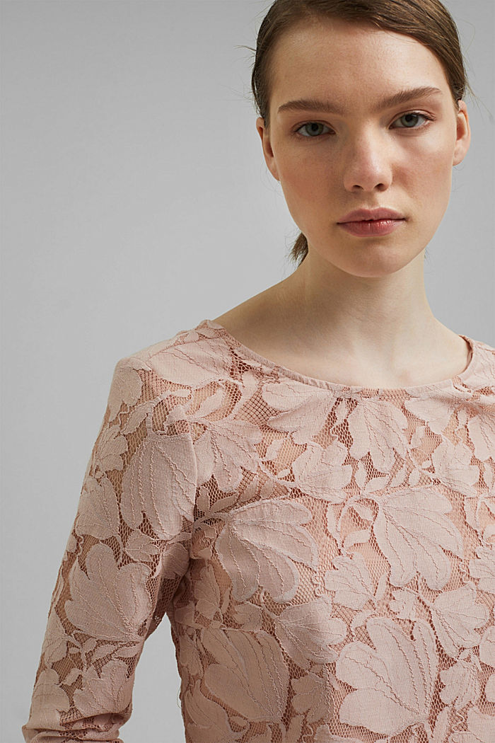 Cropped blouse made of floral lace, NUDE, detail image number 6