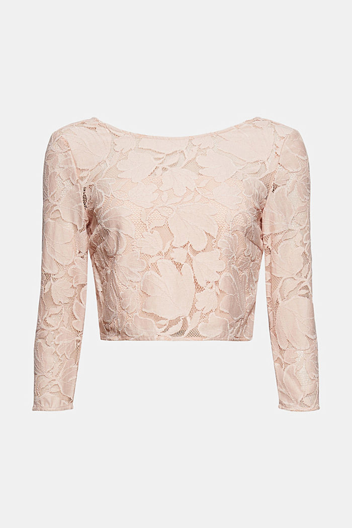 Cropped blouse made of floral lace, NUDE, detail image number 8