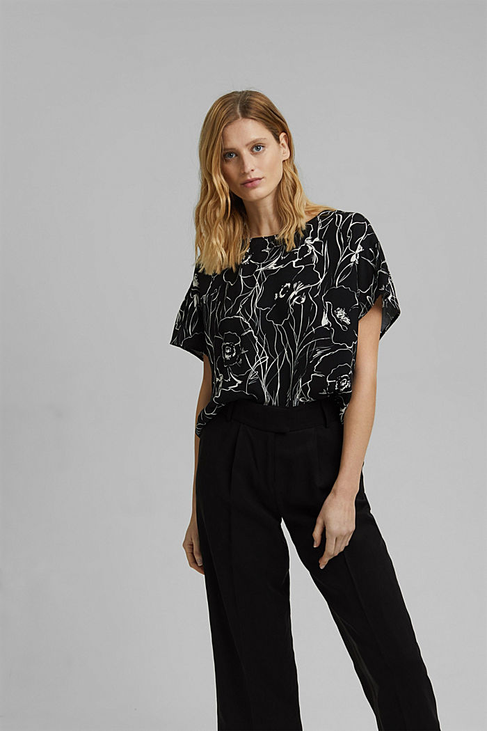 Printed blouse top with LENZING™ ECOVERO™, BLACK, detail image number 0