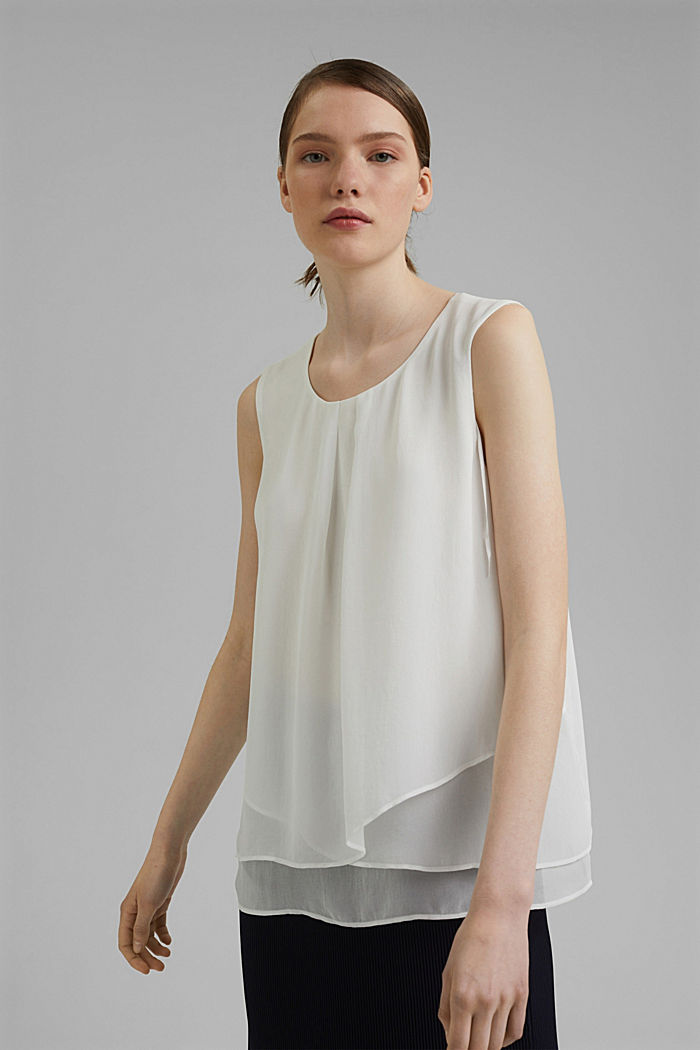 Layered blouse top made of crêpe chiffon, OFF WHITE, detail image number 0