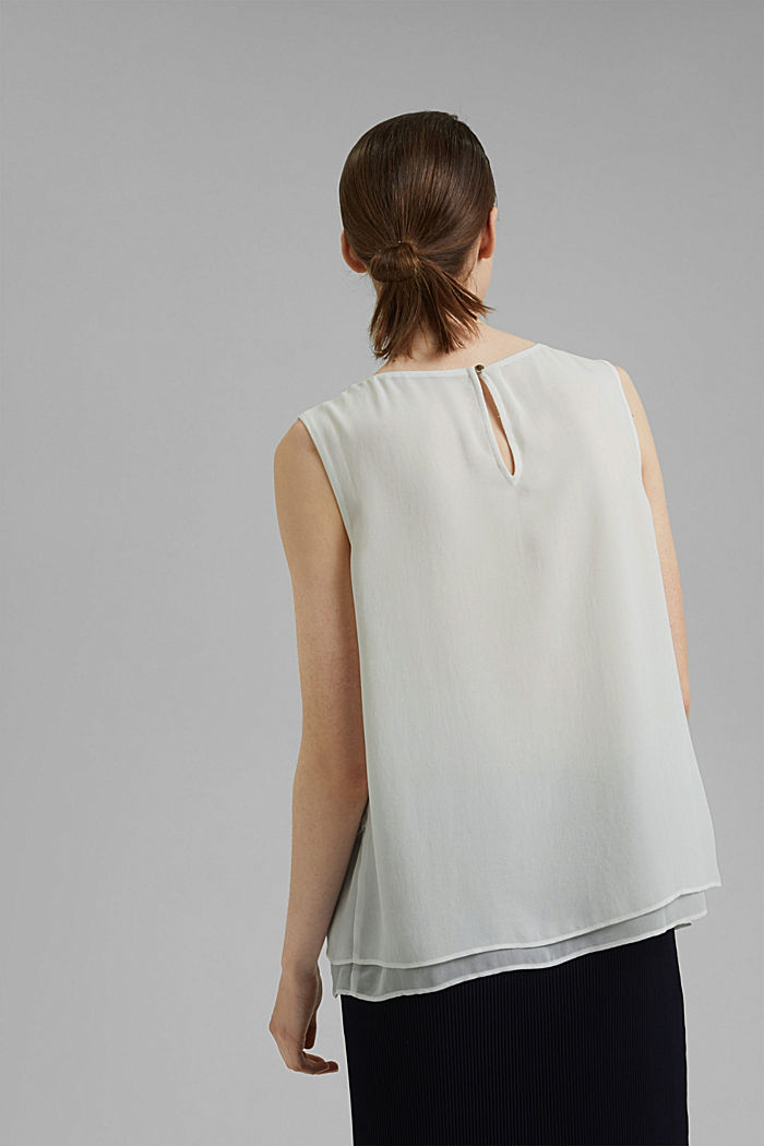 Layered blouse top made of crêpe chiffon, OFF WHITE, detail image number 3