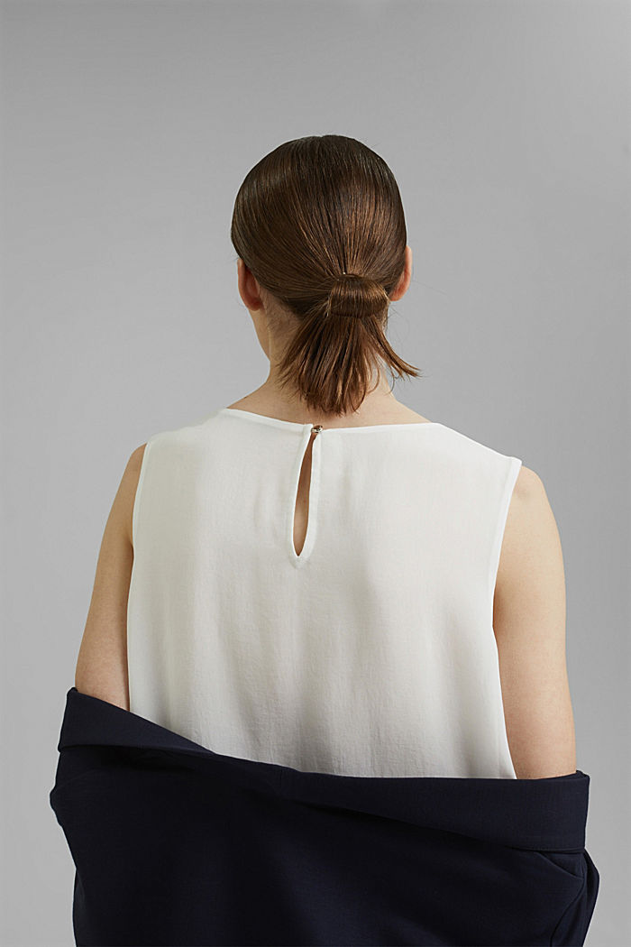 Layered blouse top made of crêpe chiffon, OFF WHITE, detail image number 2