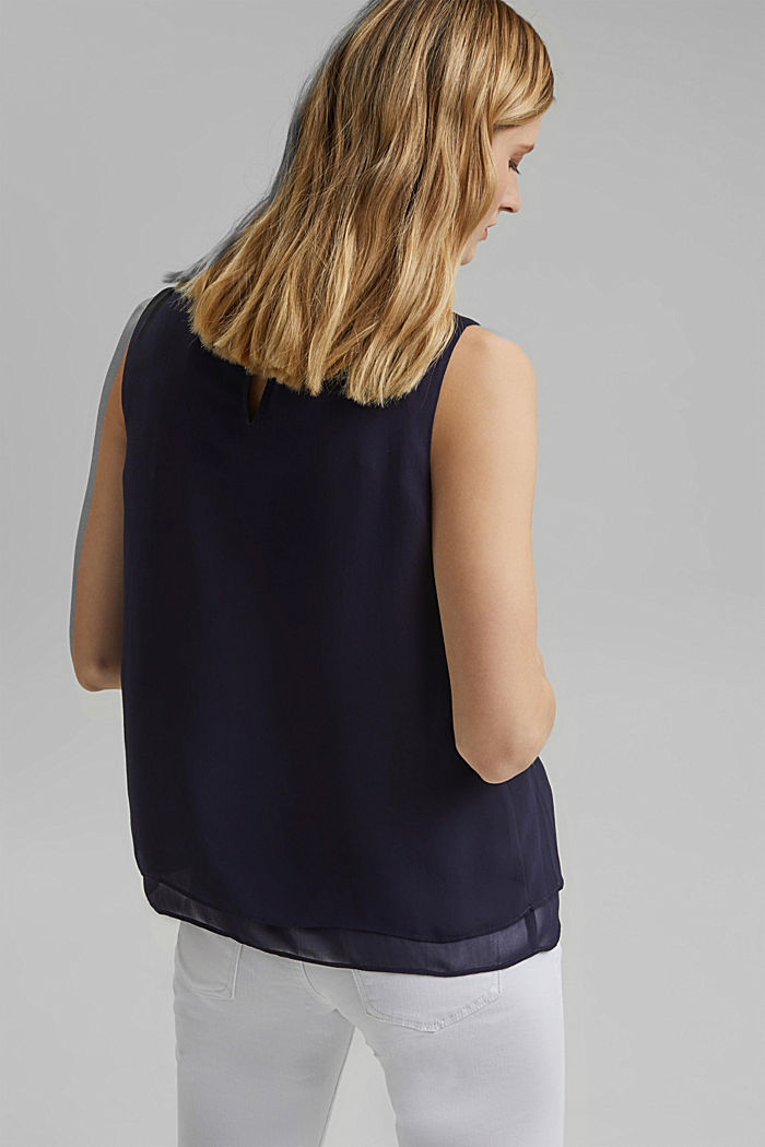 Layered blouse top made of crêpe chiffon, NAVY, detail image number 3
