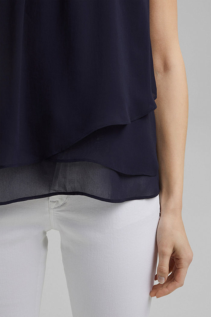 Layered blouse top made of crêpe chiffon, NAVY, detail image number 5