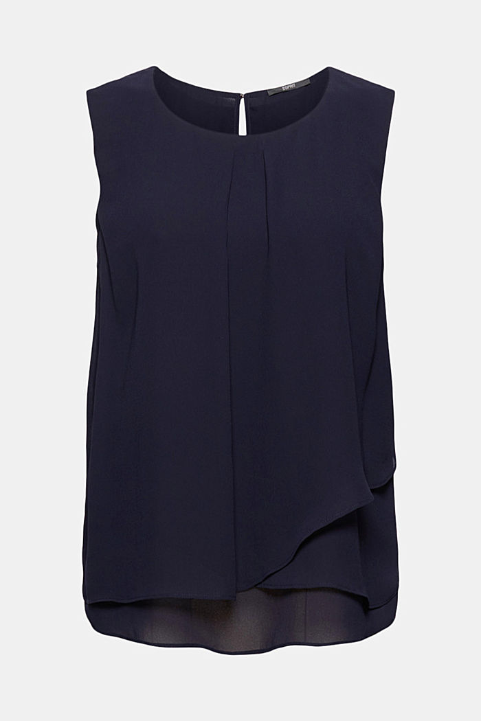 Layer-Blusentop aus Crêpe-Chiffon, NAVY, overview