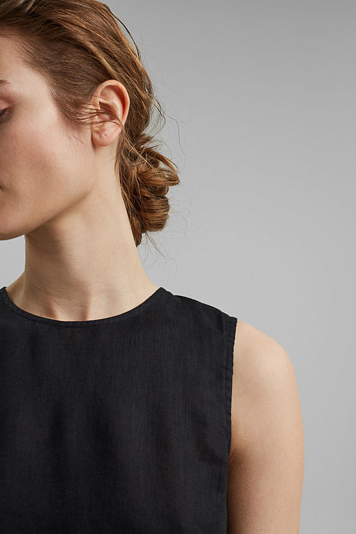 Blousetop van 100% linnen, BLACK, detail image number 2